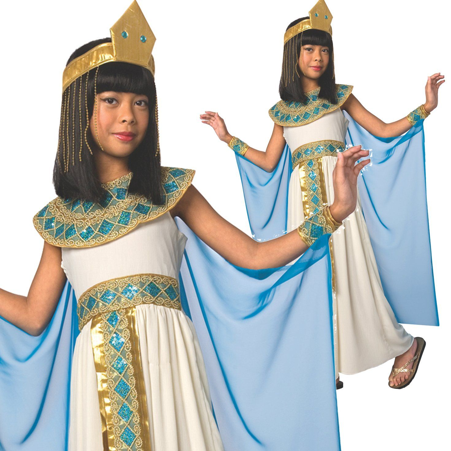 Girls Childs Cleopatra Costume Egyptian Princess Queen Fancy Dress Outfit