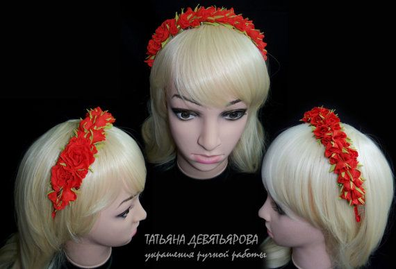 Hair band with buds of roses pink red hair band for от camellia33