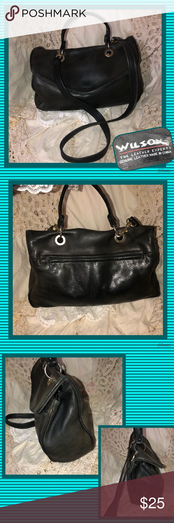 Wilson's Black Leather Satchel USED CONDITION Exterior in