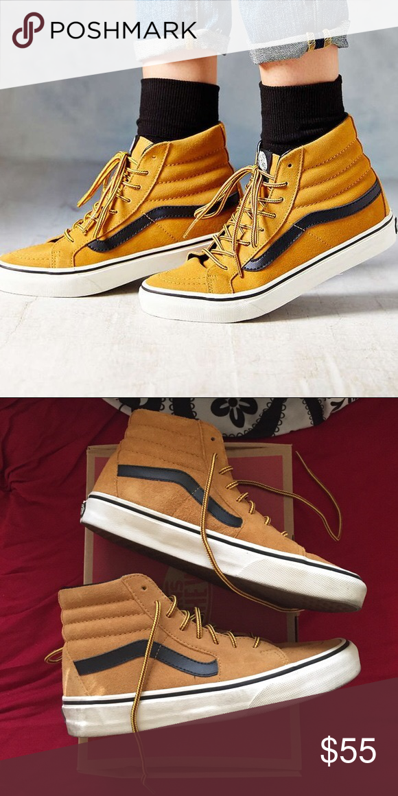 Vans Sk8 Hi wheat Vans Sk8 hi. High top mustard color black stripe. Zumiez  journeys pacsun. Size 7 in MEN and size 8.5 in WOMEN Vans Shoes 7585e4372e