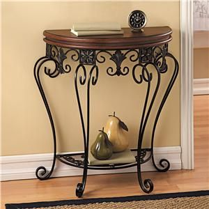 Walnut Wrought Iron Half Moon Table Lillian Vernon Big Sale