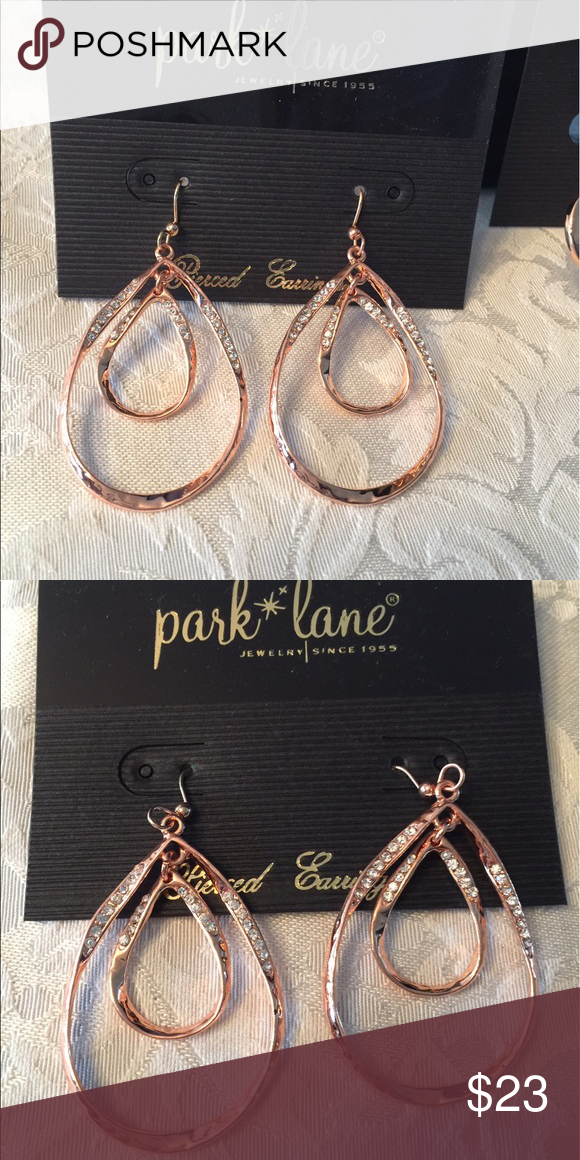 NWOT Belle Rose Gold Earrings NWOT Belle pierced earrings. A ribbon of textured rose gold fashions double teardrop earrings that shimmer with mini Austrian crystal accents.  New never worn part of my kit Park Lane Jewelry Earrings