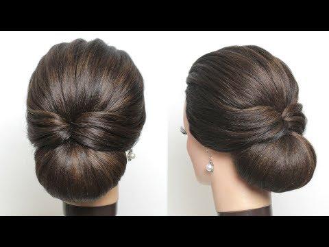 New Simple Bridal Hairstyle For Long Hair Easy Wedding Updo Youtube Long Hair Styles Bun Hairstyles For Long Hair Messy Short Hair