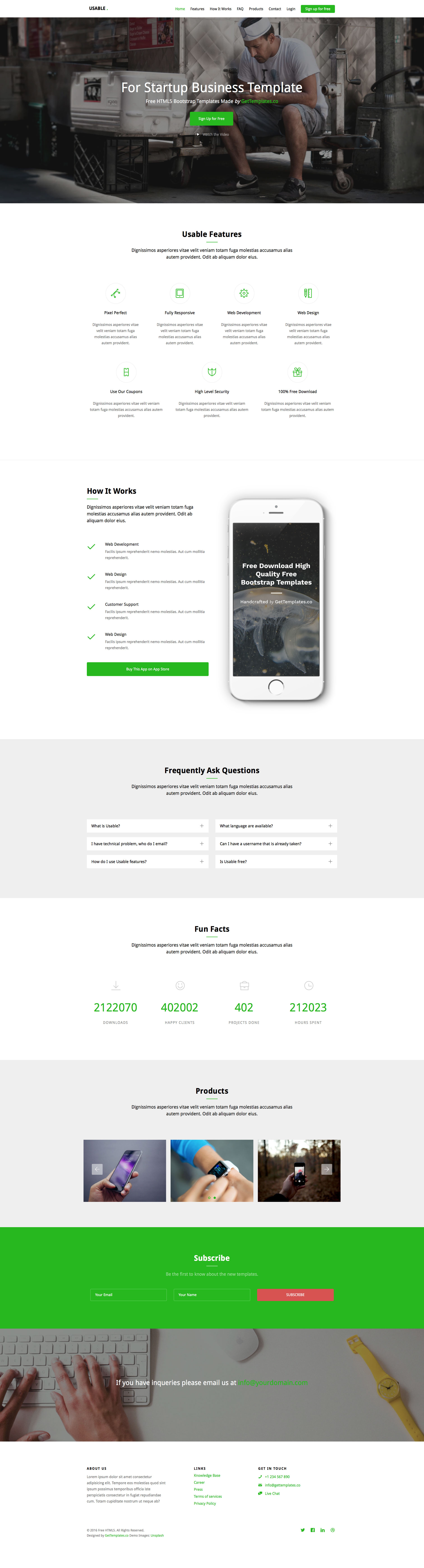 Usable is a free responsive HTML5 Bootstrap one page Website ...