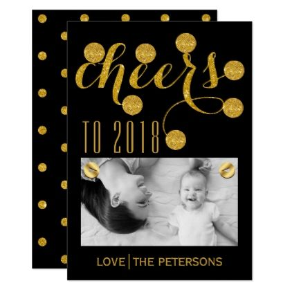 cheers to 2018 black gold glitter new year photo card