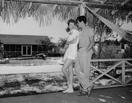 Lucille Ball & Desi Arnaz At home in Chatsworth, CA.