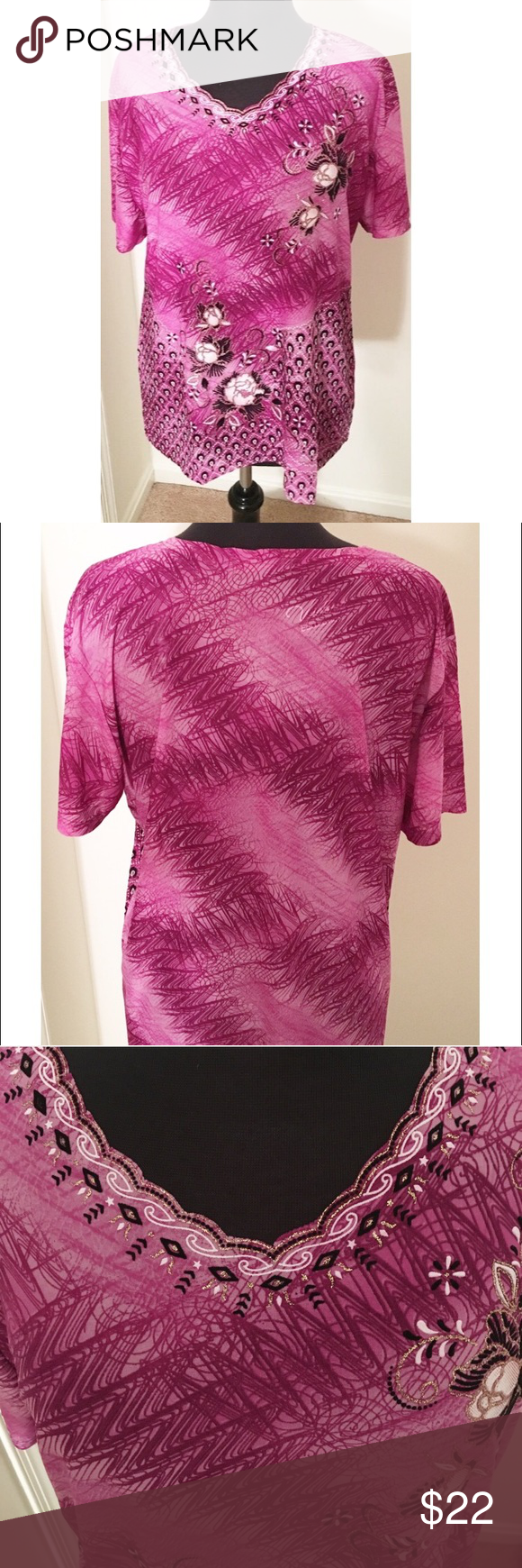 ✨GLAM BLING TOP NWT✨ FITS 14/16 Tight fit and pretty print. Tops