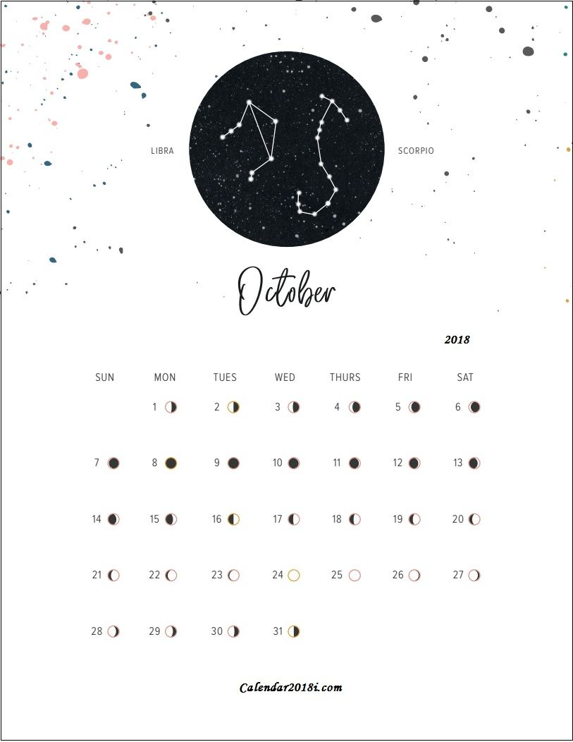 Moon Phases October 2018 Calendar Moon Calendar Moon Phase
