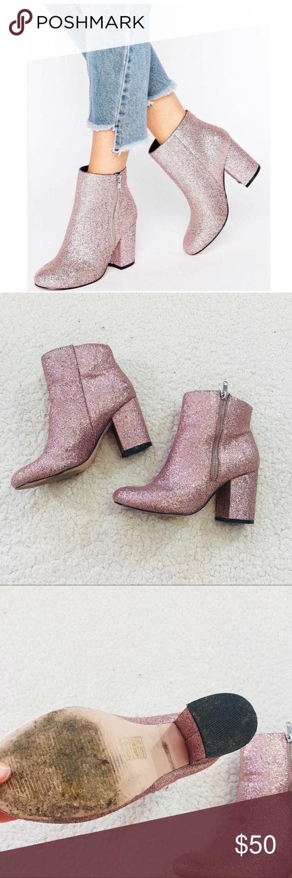 f2a781e52d22 ASOS Regan Glitter Pink Wide Toe Booties Shimmer ASOS Regan Glitter Pink  Wide Toe Booties Shimmer