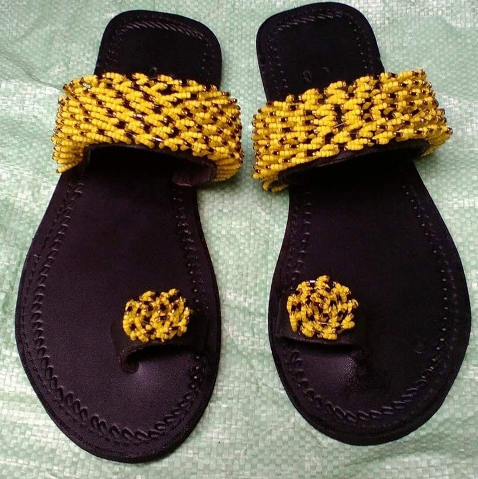 93dffc726beb2 Swahili, leather, hand made sandals with Masai beads. by ...