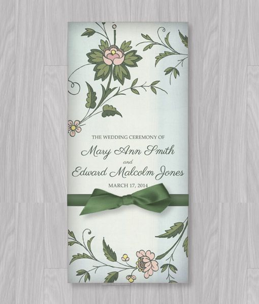 watercolor flowers tri fold program template diy wedding programs