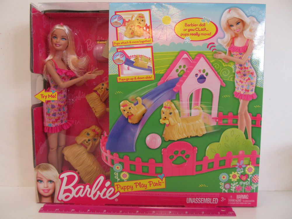PUPPY PLAY PARK Includes Barbie Doll, TWO Puppies their Toys & Dog Park Play Set #Mattel