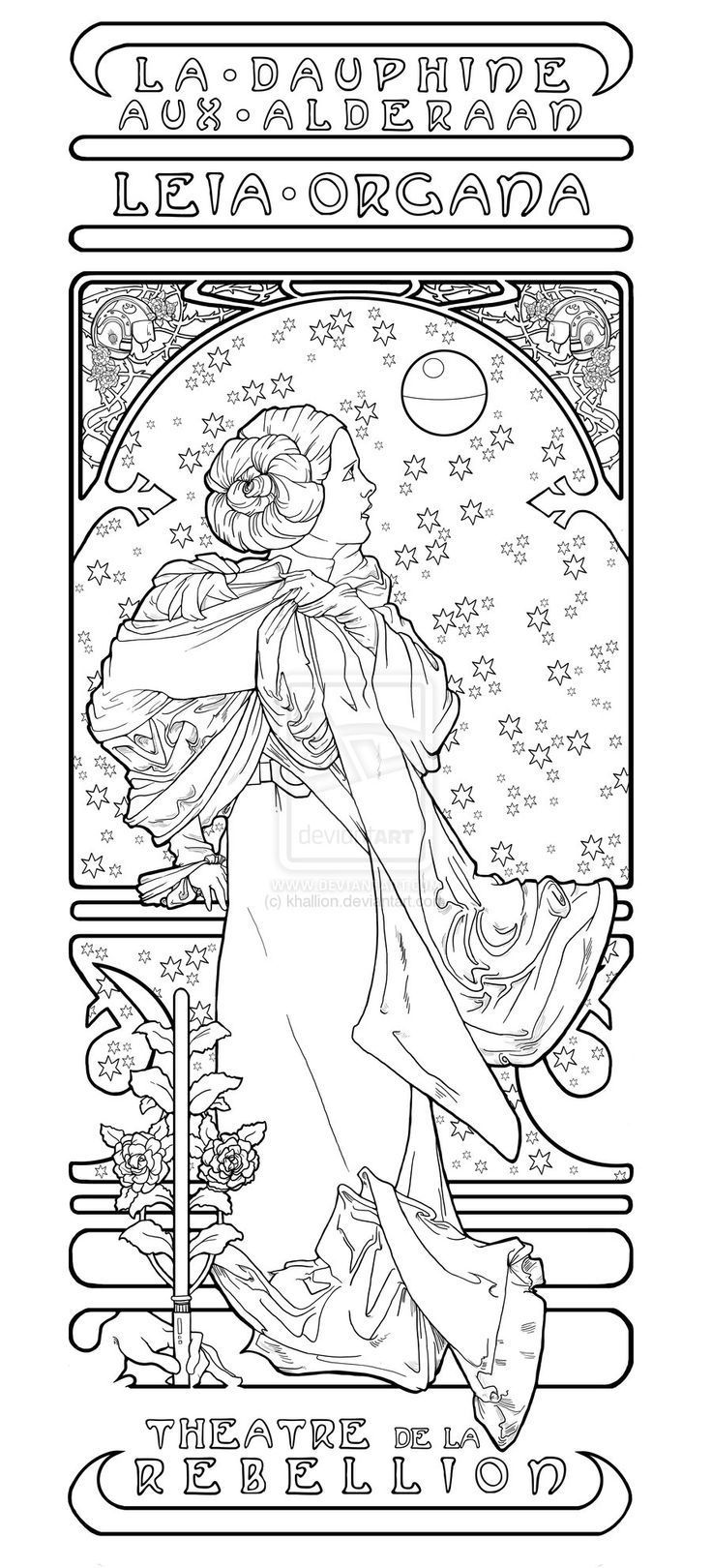 Simple Alphonse Mucha Coloring Pages