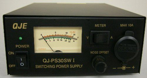 Regulated 30 Amp Compact Power Supply 13.8Vdc w/ Volt - Amp Meter! by QJE. $99.98. Super Compact Heavy Duty 30A switching Power Supply. Rated  20A Cont / 30 Amp Peak output, fixed 13.8Vdc (12V). Features Noise Offset Control. Fully circuit regulated, filtered & protected! Volt/Amp meter. Rear 30A Terminals, & front Accessory Lighter style outlet. Great for 12V DC Amateur Ham Radios, HF SSB, Stereo, CB, Two way,  Marine electronics & many other 12V DC items!
