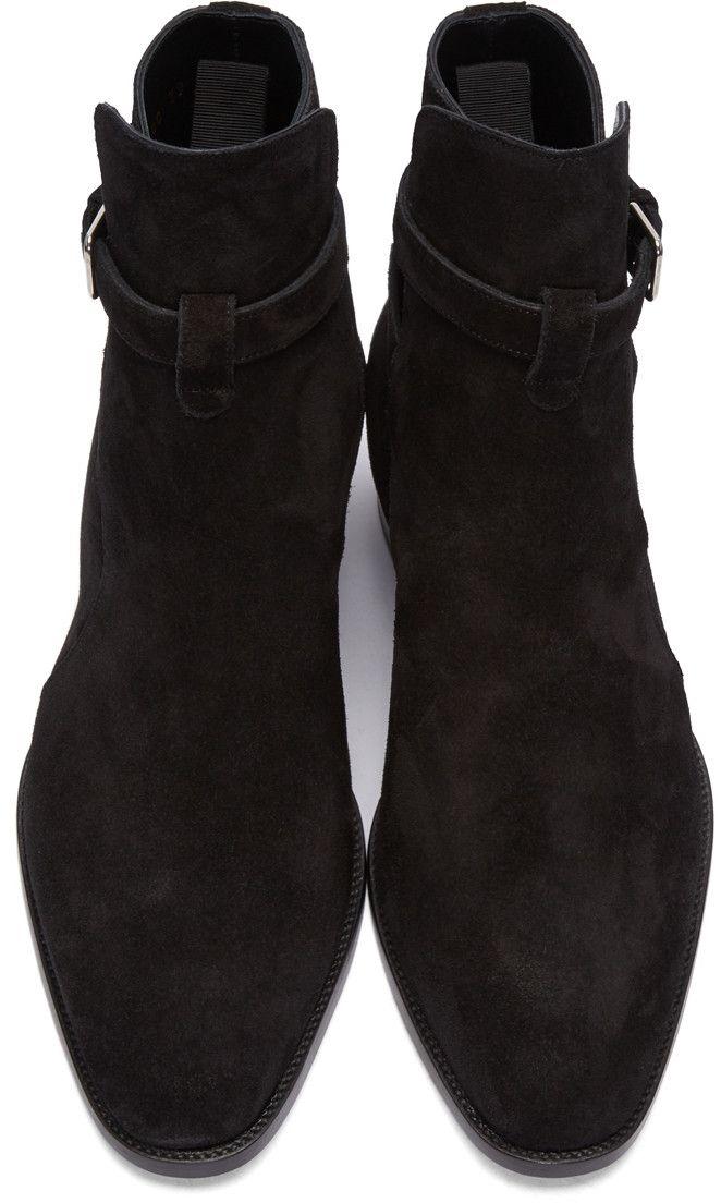 fe2645eebd6 Saint Laurent - Black Suede Wyatt Jodhpur Boots | Rockstar Gothstar ...