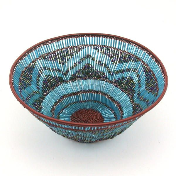 small handmade decorative beaded copper zulu basket.htm africa beaded basket handcrafted from copper wire and glass  africa beaded basket handcrafted