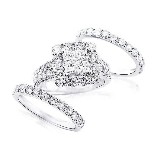 Gold Wedding Ring Trio Sets