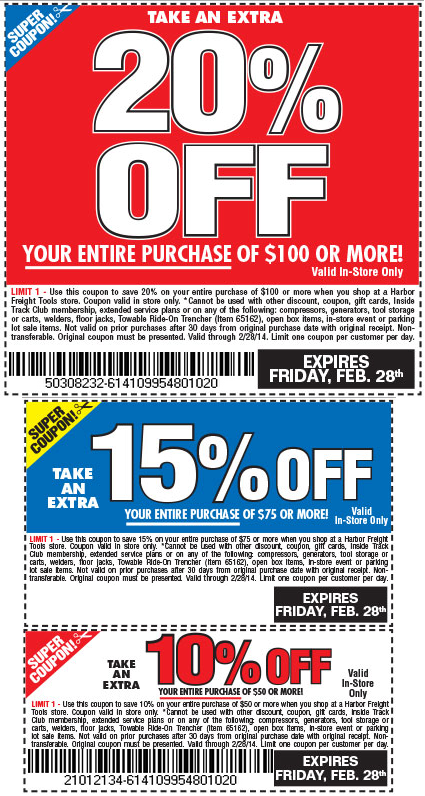 See Harbor Freight coupons here http//www