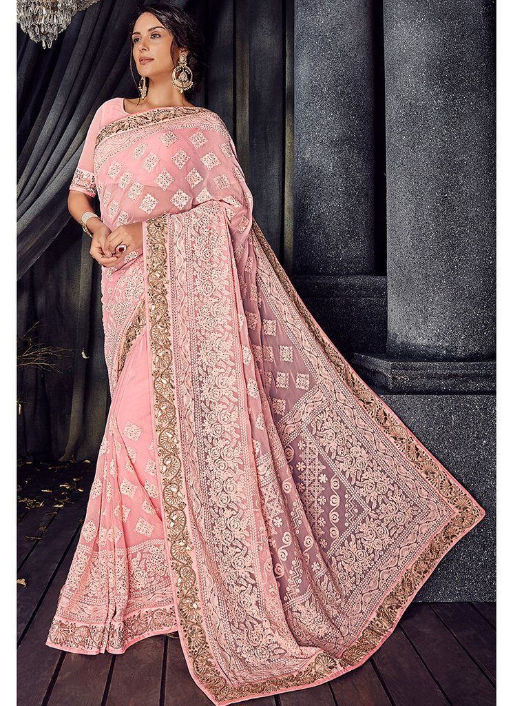 02cfbc2d3c Light Pink Lucknowi Embroidered Saree in 2019 | Things to Wear ...