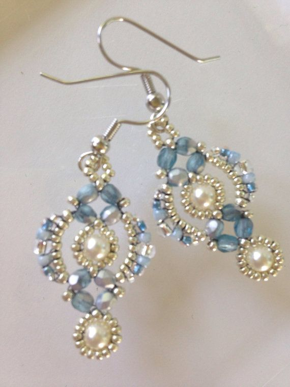 Silver Blue And White Lovely Lace Earrings With Swarovski Crystal Pearls