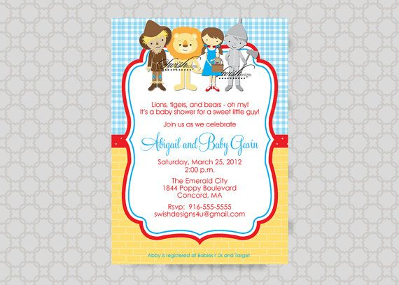Wizard of Oz BABY SHOWER Invitation Wizard of Oz Party – Wizard of Oz Birthday Party Invitations