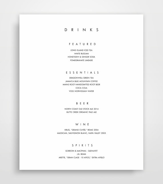 Bar Menu, Bar Menu Template, Bar Menu Printable, Bar Menu Wedding
