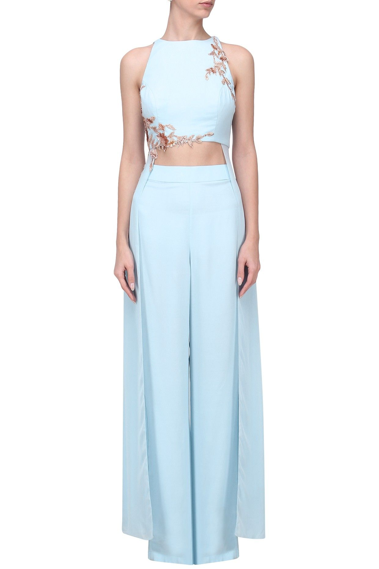 44e415e43b54 PINK PEACOCK COUTURE Powder Blue Embroidered Crop Top with Palazzo Pants  Set. Shop Now! #pinkpeacockcouture #contemporary #indowestern #powderblue  #jumpsuit ...
