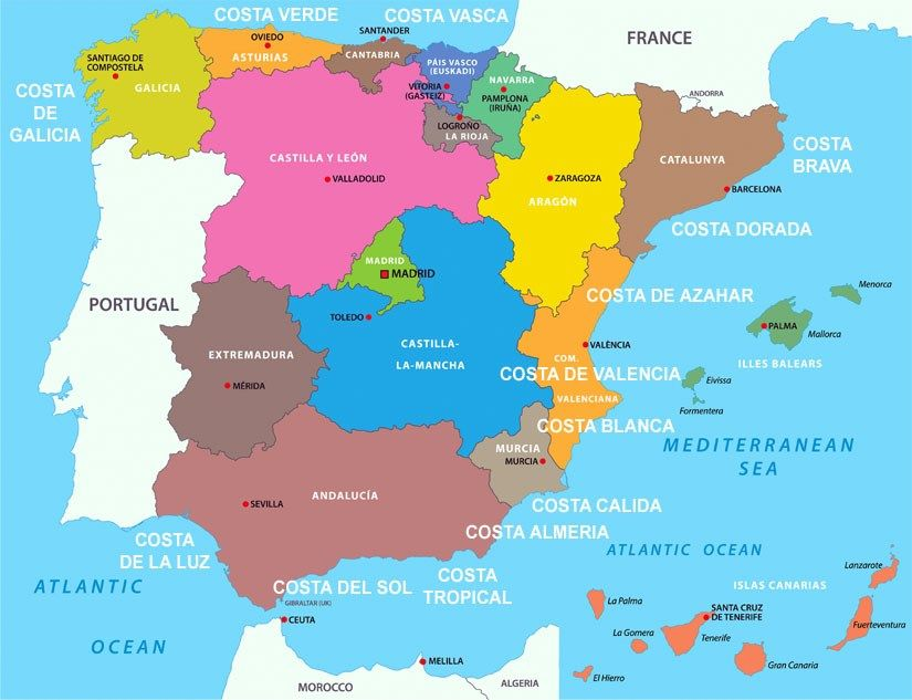 A quick guide to the different regions of Spain | Map of ...