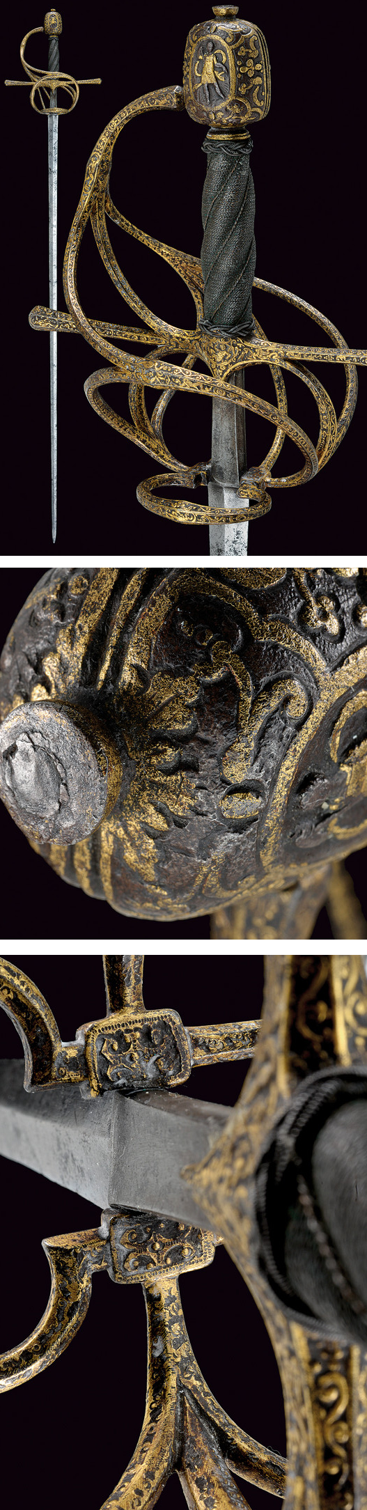 An important rapier with finely chiselled and gilt hilt. provenance: North Italy dating: late 16th Century.