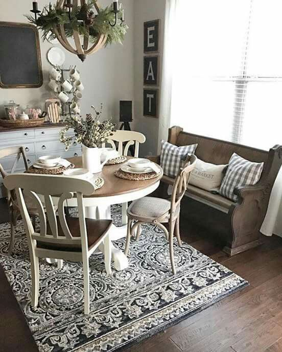 Dining Room Curtains To Create New Atmosphere In Perfect: To Create The Rustic Look Of The Farmhouse Dining Room, It