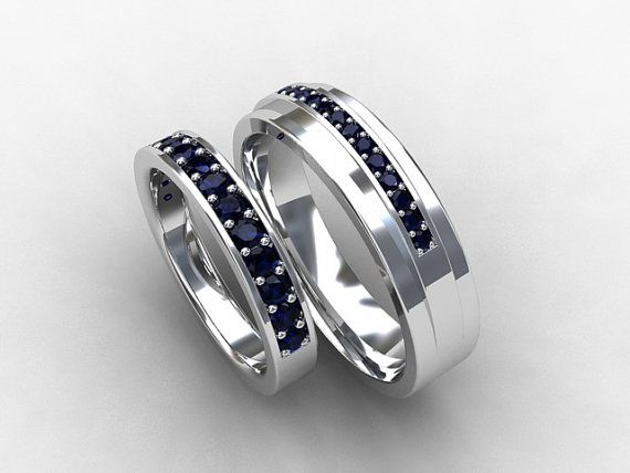 Matching Wedding Ring Set With Blue Sapphires Made From White Gold By Torkkelijewel Blue Sapphire Wedding Band Sapphire Wedding Band Set Sapphire Wedding Band