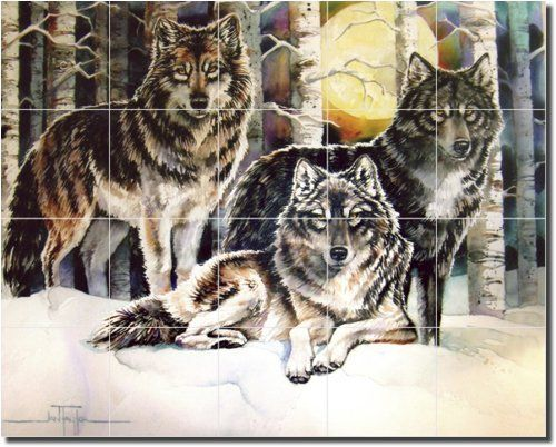 "3 Wolves by Jan Taylor - Artwork On Tile Ceramic Mural 17"" x 21.25"" Kitchen Shower Backsplash by Artwork On Tile. $155.00. Perfectly suitable for kitchen backsplash, behind a stove, in shower or spa, or other interior space. 21.25"" W x 17"" H x.25"" Ceramic Tile Mural on Architectural Grade, 4.25"" Ceramic Tile w/Satin Finish. Fusion Imaging Process imbeds artwork deep into tile surface; waterproof, fade resistant. Individually handcrafted and made with highest qu..."