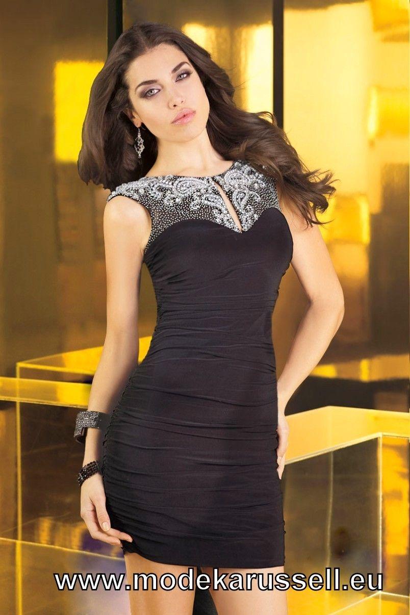 Jersey Cocktail Kleid mit Perlen in Schwarz | beautiful dresses ...