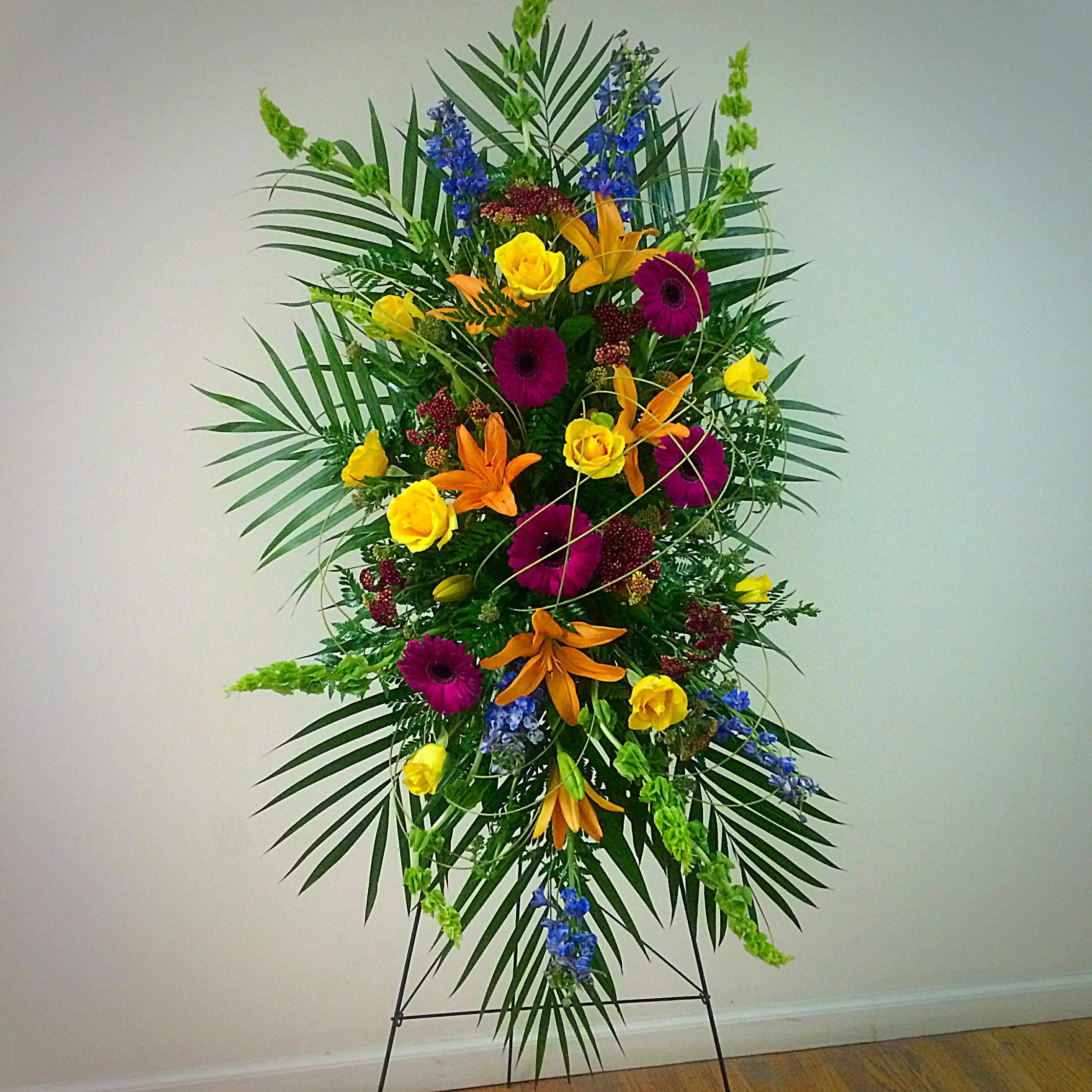 Funeral flower arrangement modern hanging easel terris flower funeral flower arrangement modern hanging easel terris flower shop by samantha dhlflorist Image collections