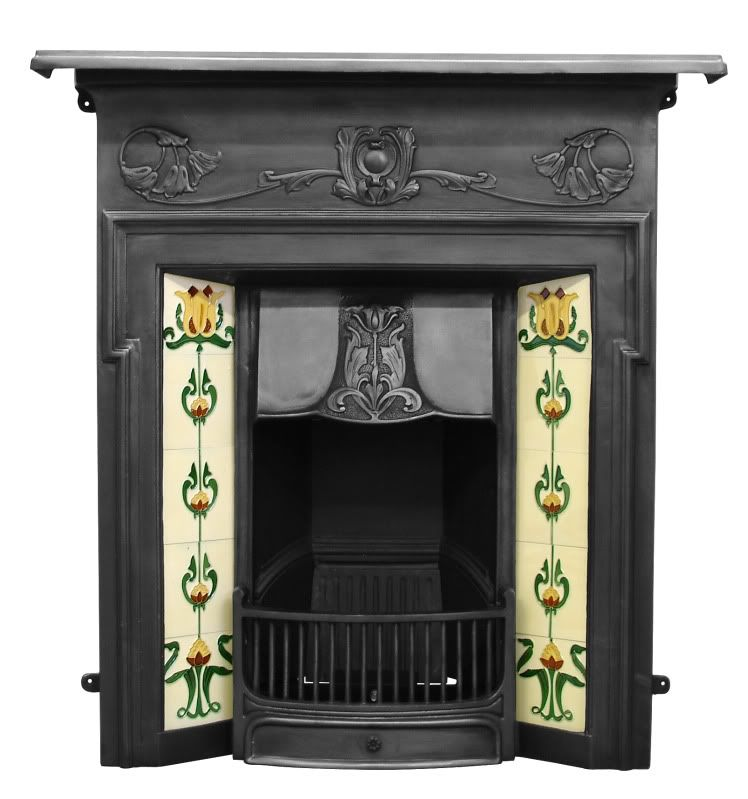 Morris Black Finish Cast Iron Combination Fireplace In 2020 Cast
