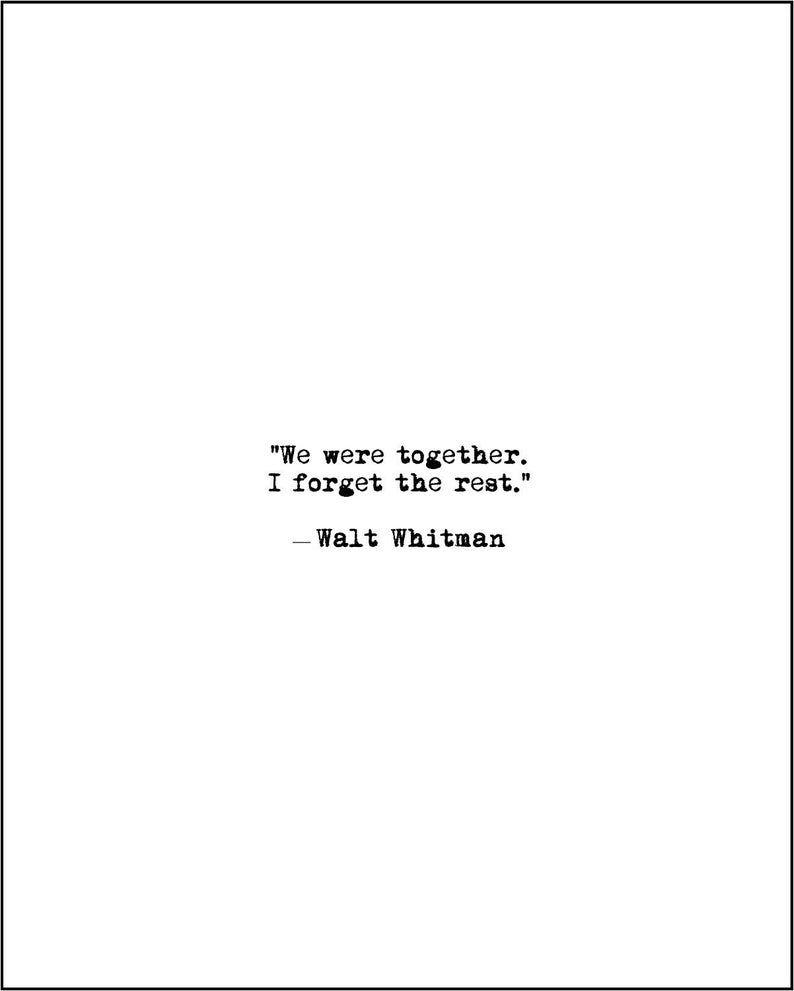 INSTANT DOWNLOAD Walt Whitman Printable Love Poem We Were | Etsy