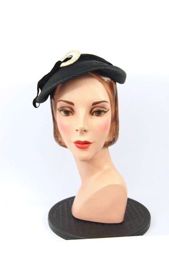 a90200f317e1a 50s Black Straw Hat by Gage - Small Brimmed Hat - Jaunty Asymmetrical Beret  Style   Modest Church Ha