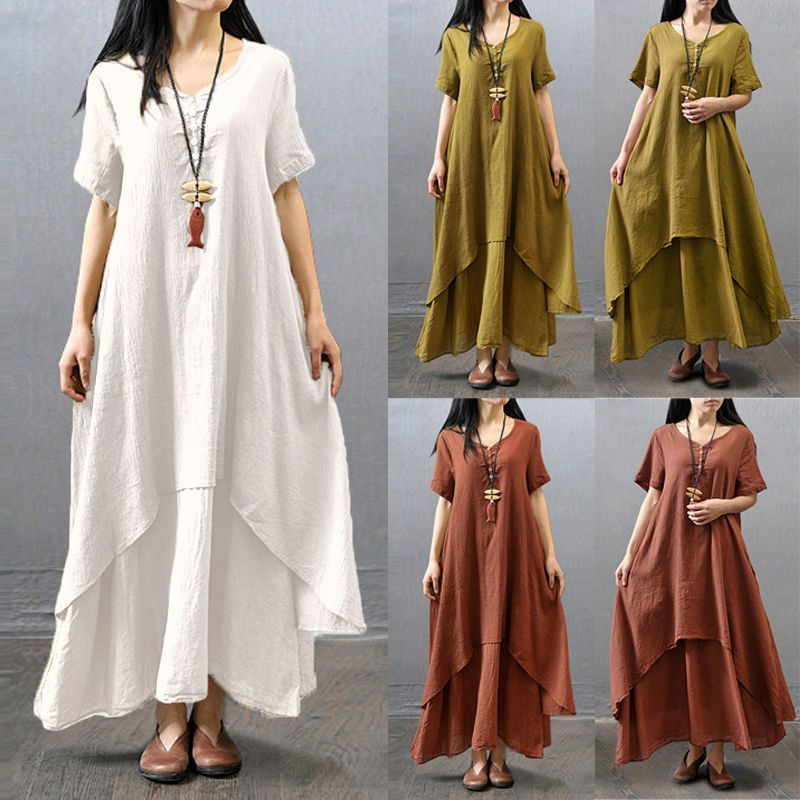 4c5cc8bd4097 Fashion Women Ethnic Boho Cotton Linen Long Sleeve Maxi Dress Gypsy Blouse  Shirt