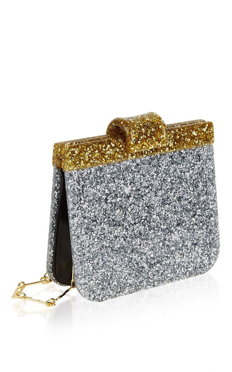ed8339681e91 Charlie Contrast Acrylic Silver   Gold Shoulder Bag by Edie Parker  R16   for Preorder on Moda Operandi ♥༺❤༻♥