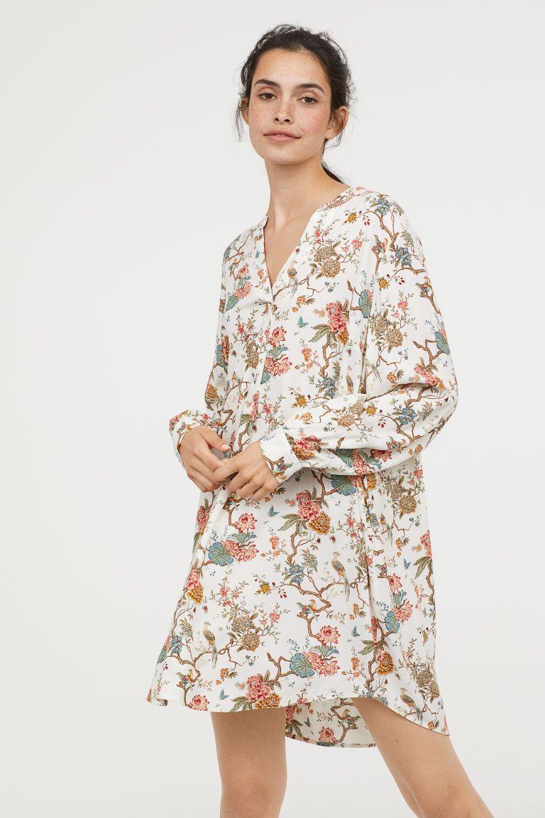 f6021f32da Wzorzysta sukienka z wiskozy - Naturalna biel Kwiaty - ONA