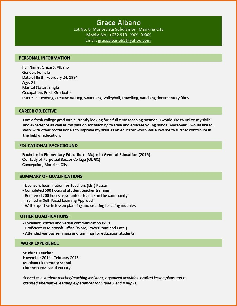 Http Information Gate Net Resume Letter Cv Samples For Fresh Graduates In Nigeria Resume Pdf Resume Cv Resume Template