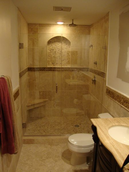 Convert tub into stand alone shower, recessed arched shelf! | My ...
