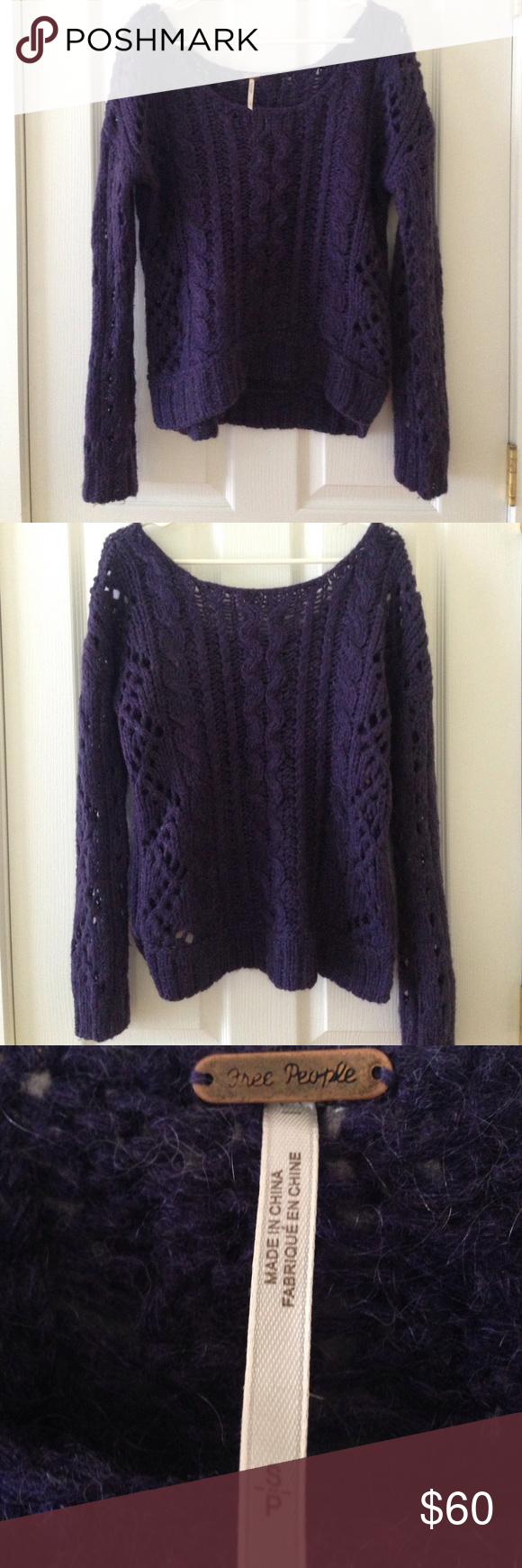 Purple Free People Sweater | Deep purple color, Deep purple and ...