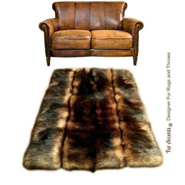 Pieced Fur Area Rug Red Brown Fox Pelt Premium Faux Rectangle