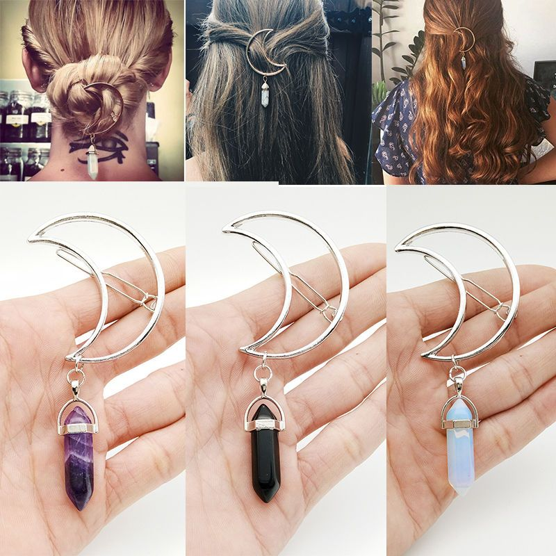 Women Vintage Alloy Moon Hair Clip Natural Stone Pendant Charms Clamp Hairpin ..