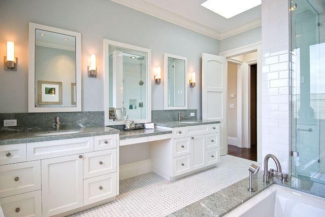 His And Hers Vanities Painted Cabinets Granite Counters Granite Backsplash Traditional Bathroom Master Bath Vanity Master Bathroom Vanity Modern Master Bath