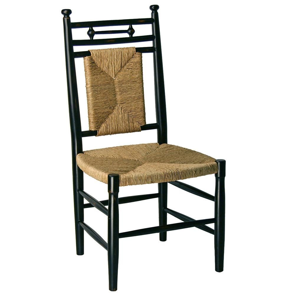 Abigail Armless Dining Chair With Woven Seat Black 23 Finish