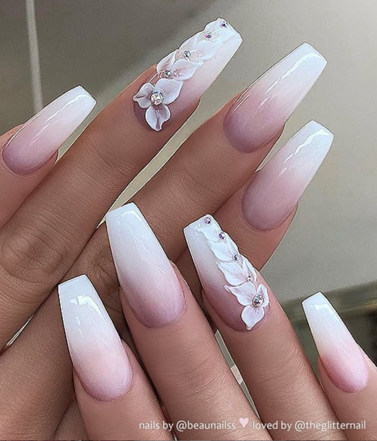 Original Coffin French Ombre Nails With Glitter-nail Art
