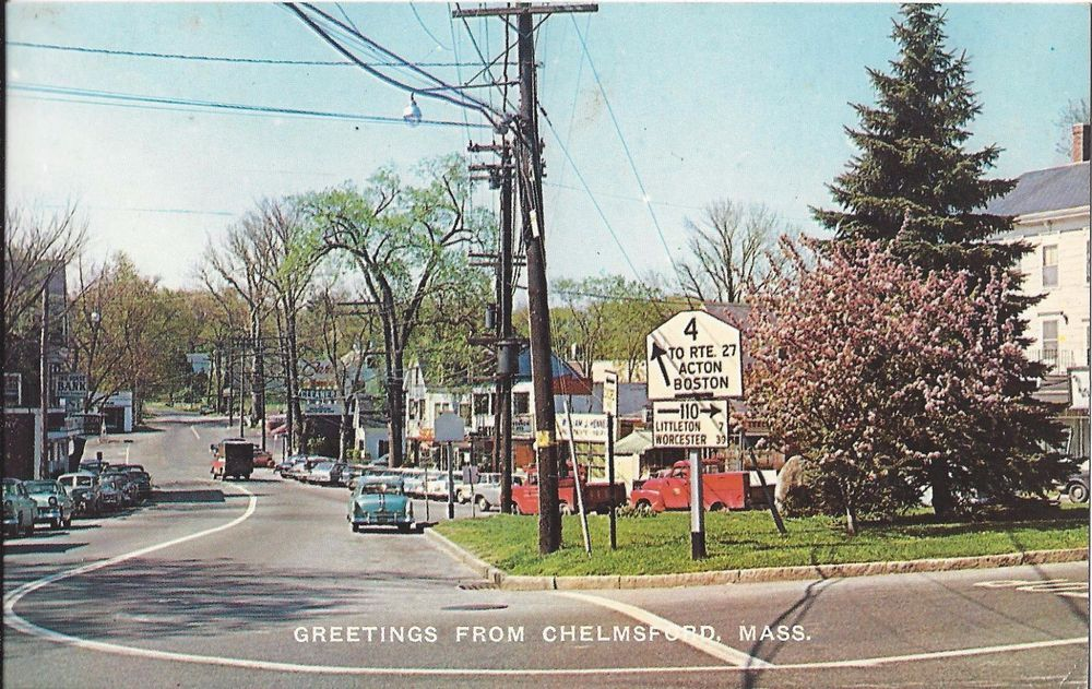 Chelmsford Mass Photo Postcard Business District Vintage