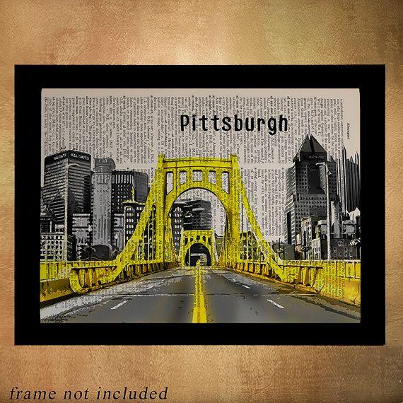 Pittsburgh Bridges Dictionary Art Print Pennsylvania Bridge Wall Art Home Decor Pittsburgh Decor Da1010